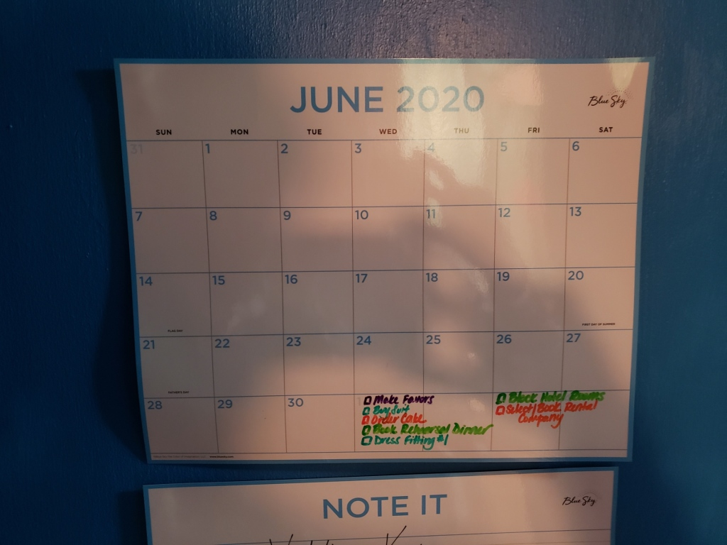 Our wedding planning calendar for June