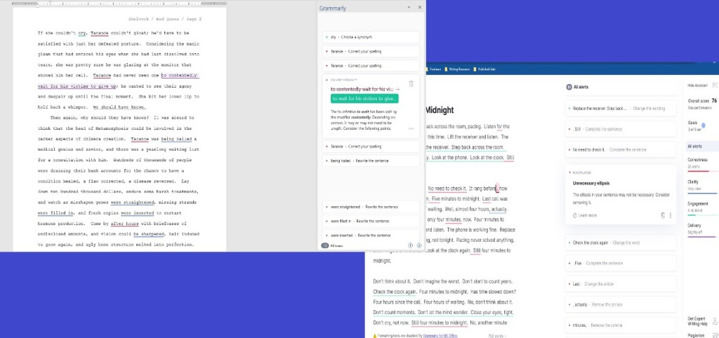 Screenshots of Grammarly
